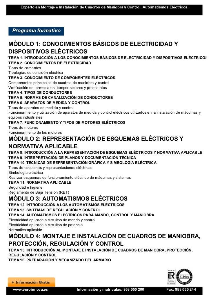 Curso cuadros de maniobra y control for Clases de termostatos