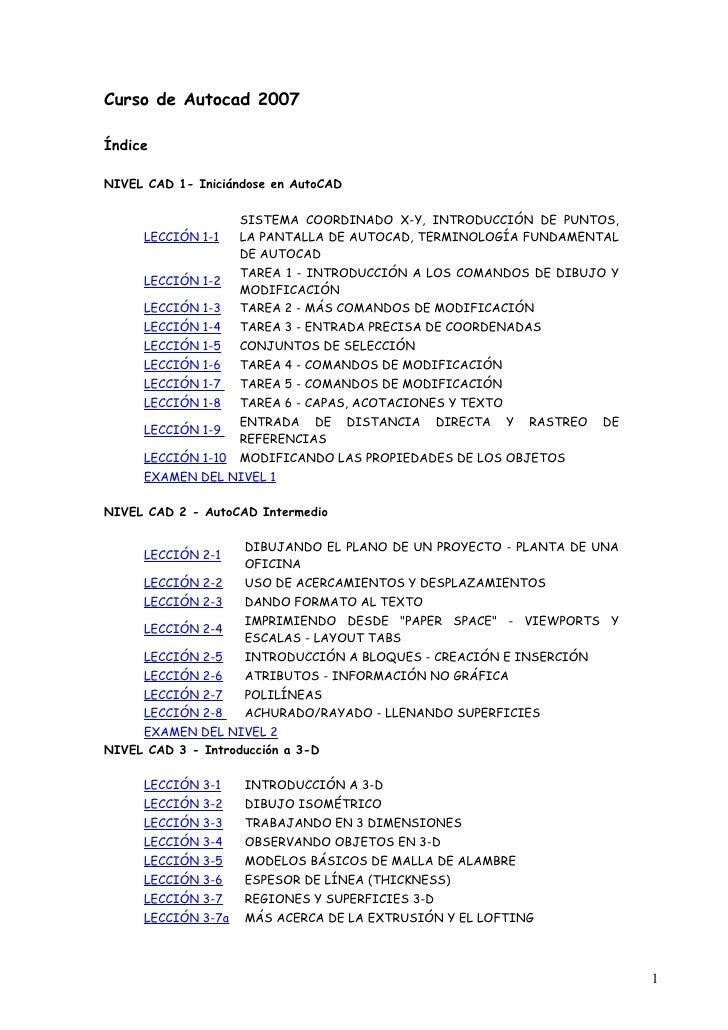Curso de Autocad 2007  Índice  NIVEL CAD 1- Iniciándose en AutoCAD                      SISTEMA COORDINADO X-Y, INTRODUCCI...