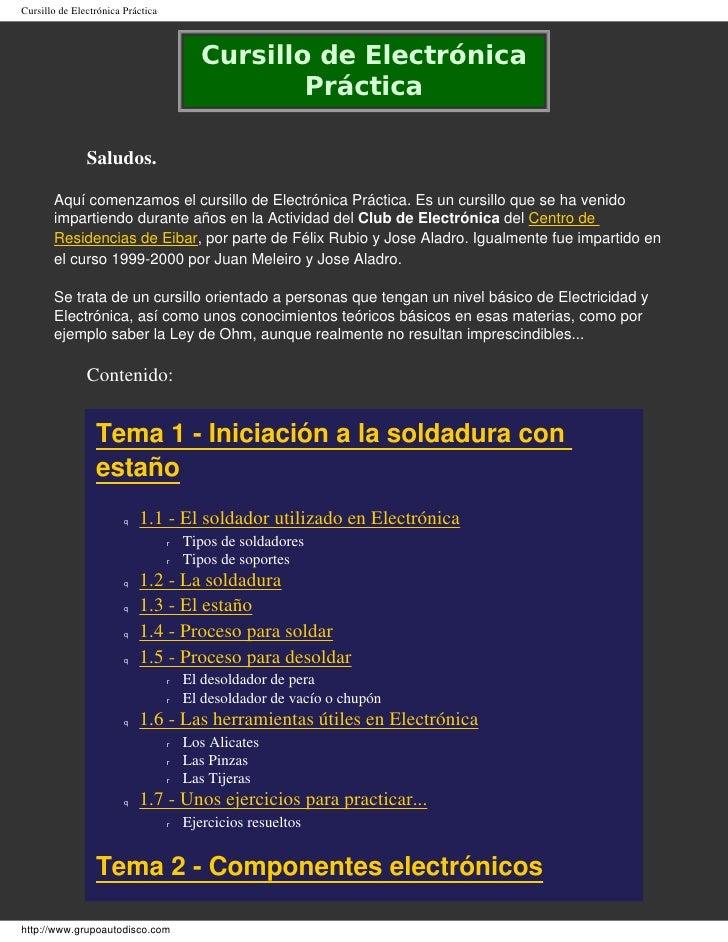 Cursillo de Electrónica Práctica                                              Cursillo de Electrónica                     ...