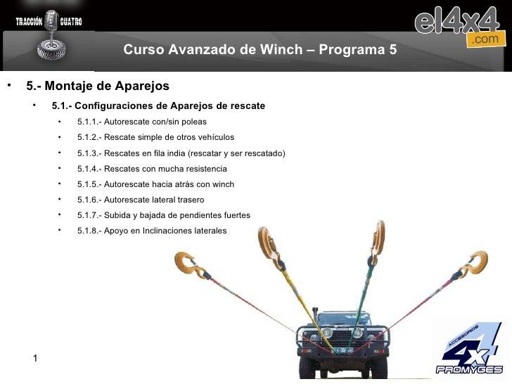Curso Avanzado de Winch – Programa 5 <ul><li>5.- Montaje de Aparejos </li></ul><ul><ul><li>5.1.- Configuraciones de Aparej...
