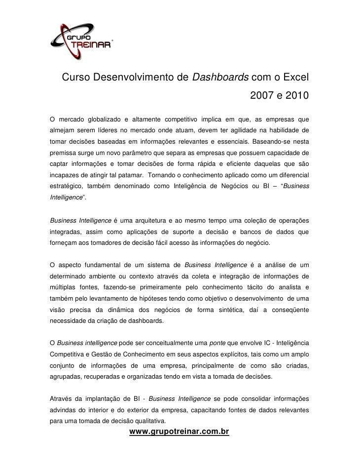 Curso Desenvolvimento de Dashboards com o Excel                                                                    2007 e ...