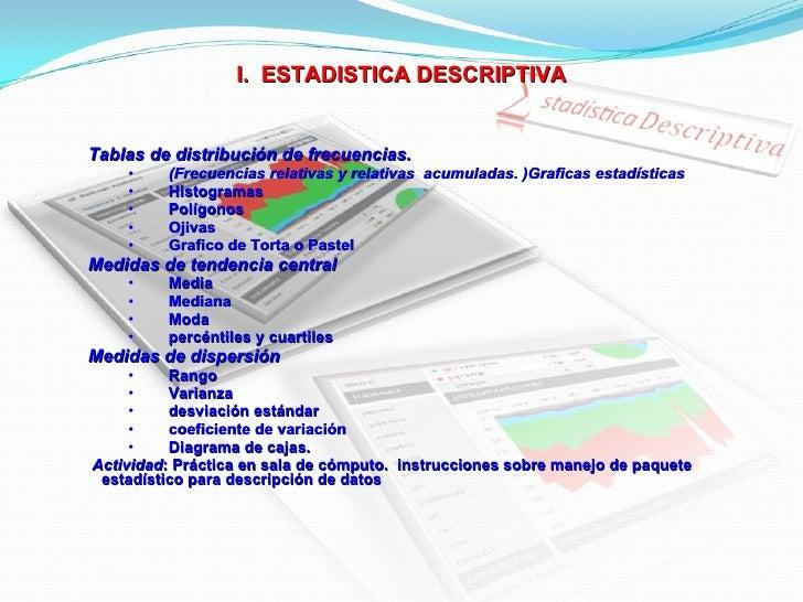I.  ESTADISTICA DESCRIPTIVA <ul><ul><li>Tablas de distribución de frecuencias.  </li></ul></ul><ul><ul><ul><li>(Frecuencia...