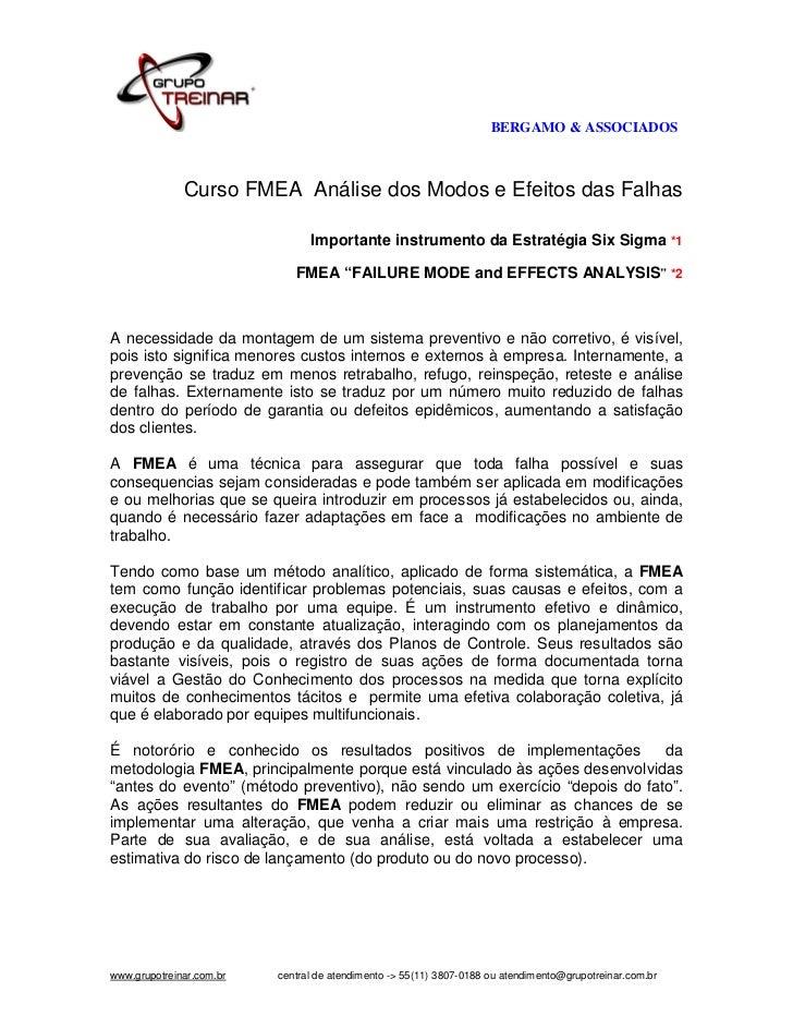 BERGAMO & ASSOCIADOS              Curso FMEA Análise dos Modos e Efeitos das Falhas                                Importa...