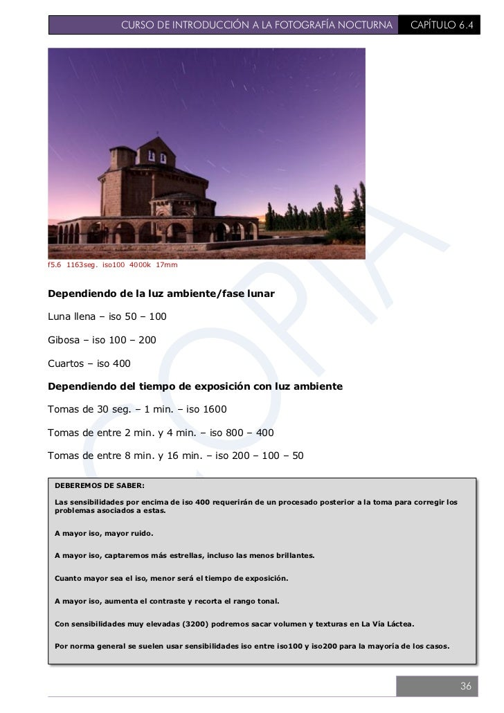 CURSO DE INTRODUCCIÓN A LA FOTOGRAFÍA NOCTURNA                              CAPÍTULO 6.56.5. TÉCNICA BÁSICA – EXPOSICIÓNSi...