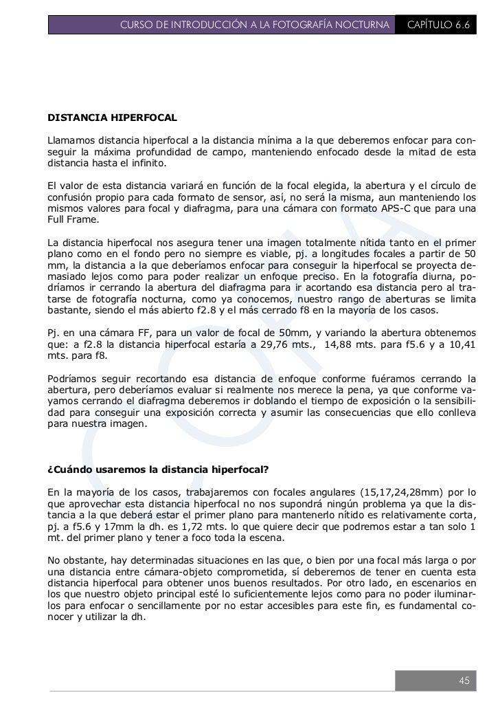 CURSO DE INTRODUCCIÓN A LA FOTOGRAFÍA NOCTURNA                CAPÍTULO 6.6                                                ...