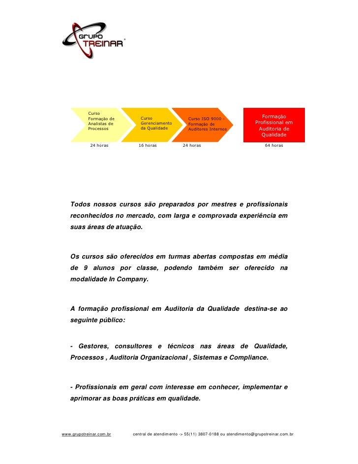 Curso            Formação de       Curso                  Curso ISO 9000 -                                                ...