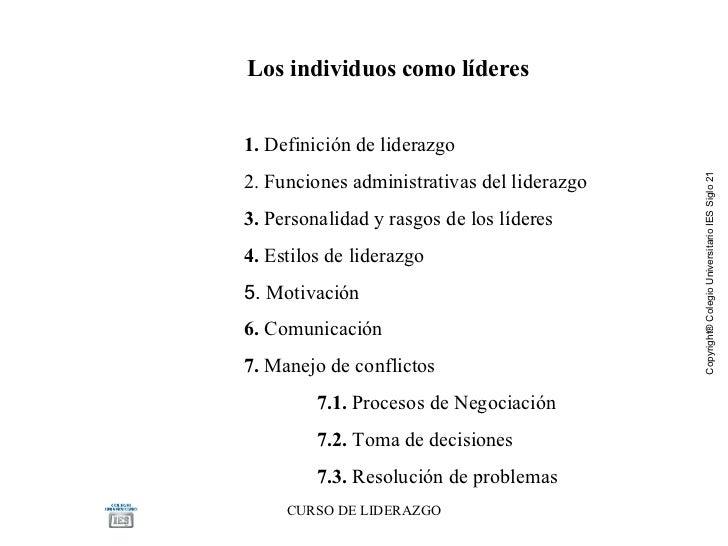 Los individuos como líderes  1.  Definición de liderazgo 2. Funciones administrativas del liderazgo 3.  Personalidad y ra...
