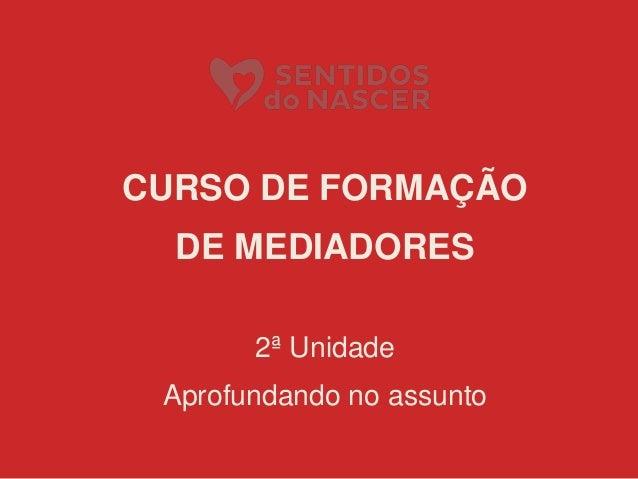 CURSO DE FORMAÇÃO DE MEDIADORES 2ª Unidade Aprofundando no assunto