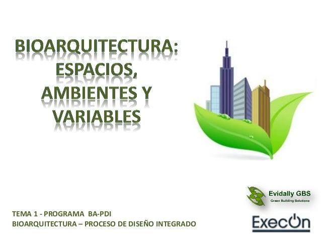 TEMA 1 - PROGRAMA BA-PDI BIOARQUITECTURA – PROCESO DE DISEÑO INTEGRADO