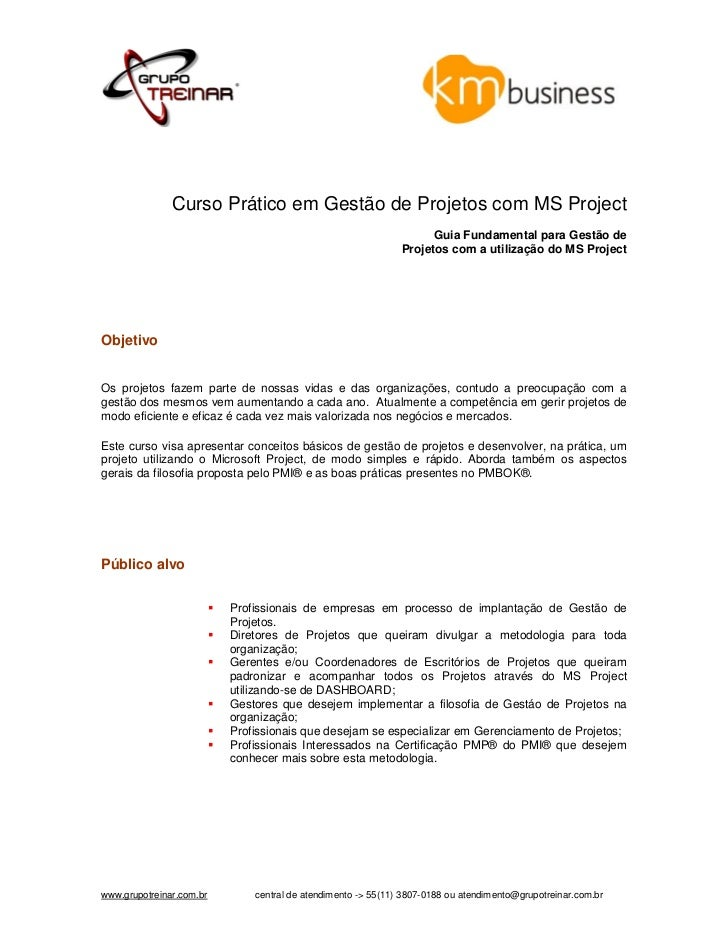 Curso Prático em Gestão de Projetos com MS Project                                                                    Guia...