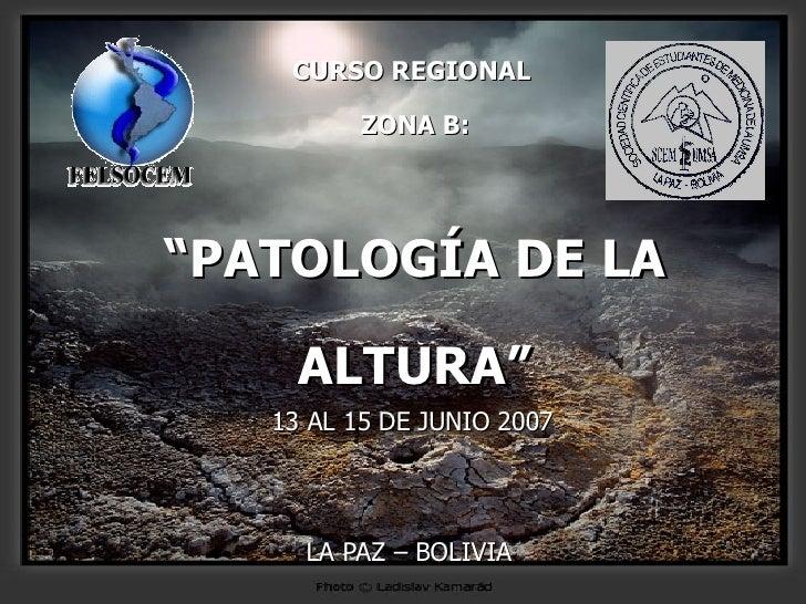 """CURSO REGIONAL  ZONA B: """"PATOLOGÍA DE LA ALTURA"""" 13 AL 15 DE JUNIO 2007 LA PAZ – BOLIVIA"""