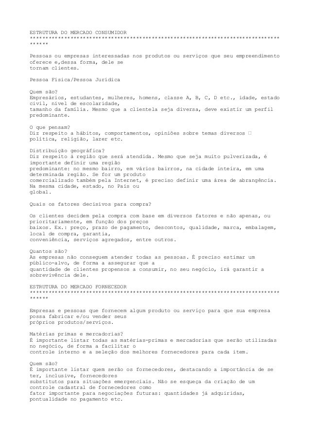 ESTRUTURA DO MERCADO CONSUMIDOR**************************************************************************************Pesso...