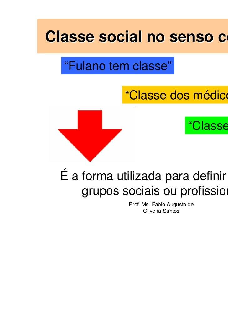 """Classe social no senso comum:  """"Fulano tem classe""""             """"Classe dos médicos""""                                     """"C..."""