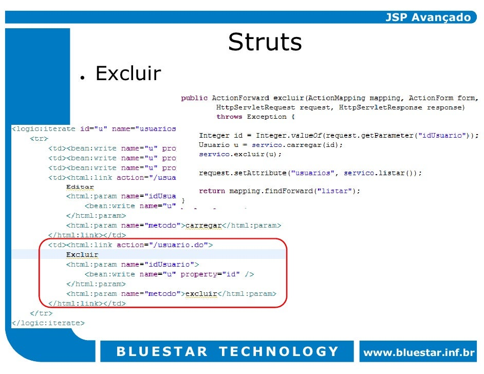 JSP Avançado             Struts Excluir       BLUESTAR TECHNOLOGY   www.bluestar.inf.br