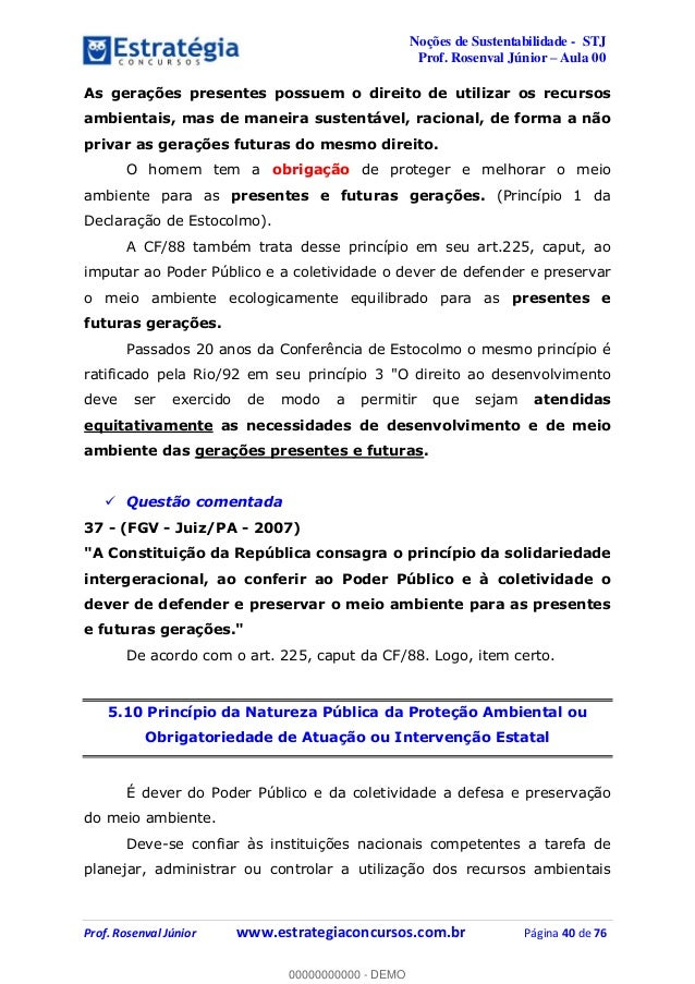 Noções de Sustentabilidade - STJ Prof. Rosenval Júnior Aula 00 Prof. Rosenval Júnior www.estrategiaconcursos.com.br Página...