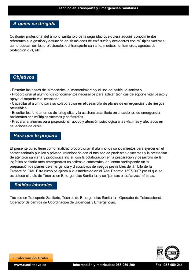 Curso tecnico transporte emergencias sanitarias for Soluciones tecnico sanitarias