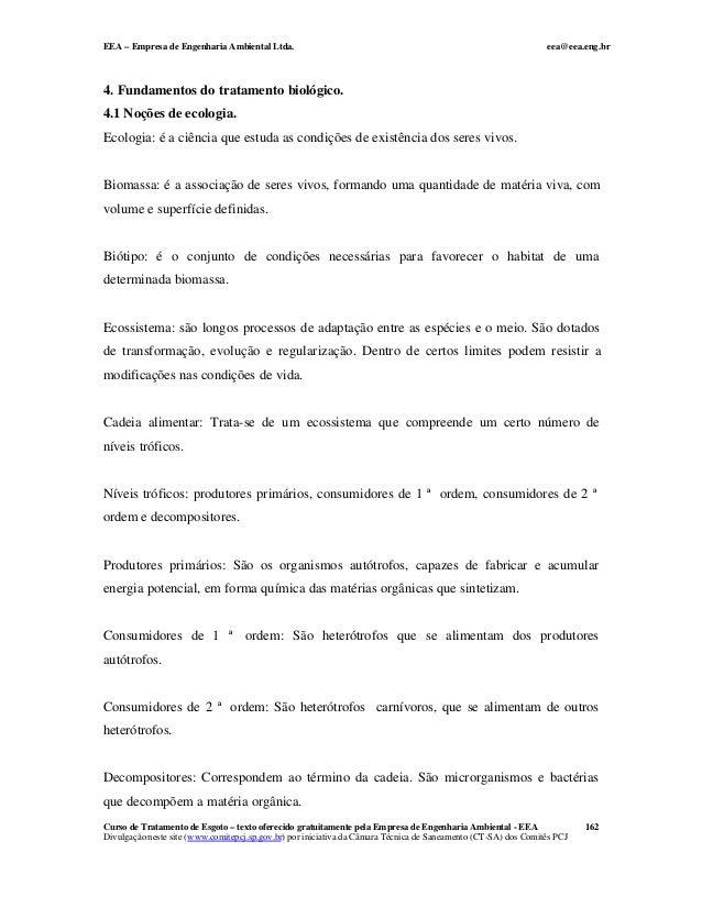 EEA – Empresa de Engenharia Ambiental Ltda. eea@eea.eng.br Curso de Tratamento de Esgoto – texto oferecido gratuitamente p...