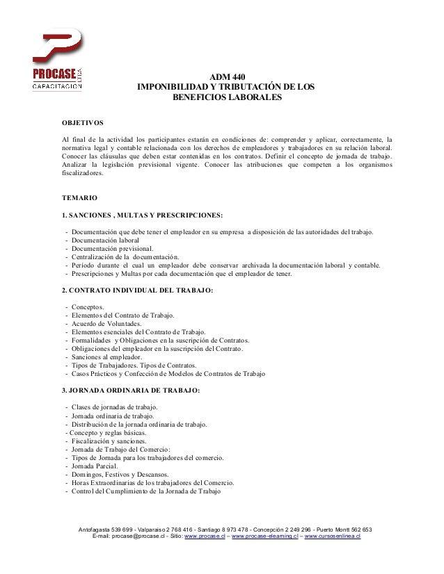ADM 440                            IMPONIBILIDAD Y TRIBUTACIÓN DE LOS                                  BENEFICIOS LABORALE...