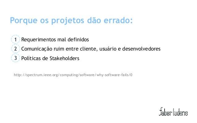 Porque os projetos dão errado: 1 Requerimentos mal definidos 2 Comunicação ruim entre cliente, usuário e desenvolvedores 3...