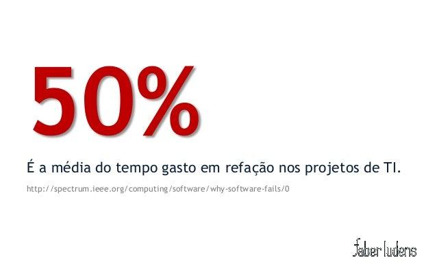 50%É a média do tempo gasto em refação nos projetos de TI.http://spectrum.ieee.org/computing/software/why-software-fails/0