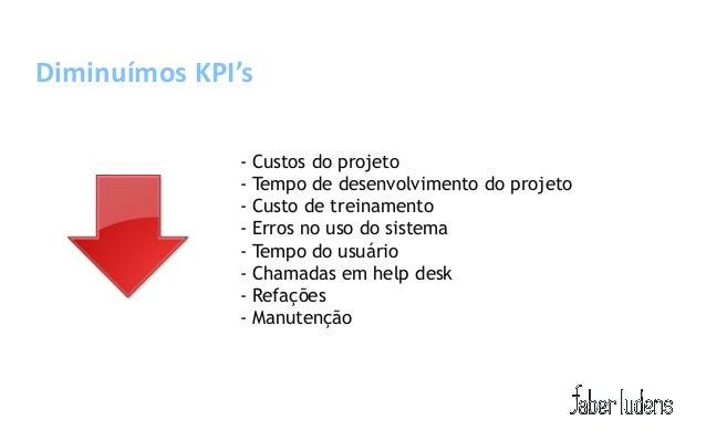 Diminuímos KPI's               - Custos do projeto               - Tempo de desenvolvimento do projeto               - Cus...