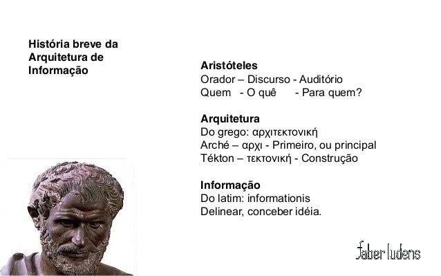 História breve daArquitetura deInformação          Aristóteles                    Orador – Discurso - Auditório           ...