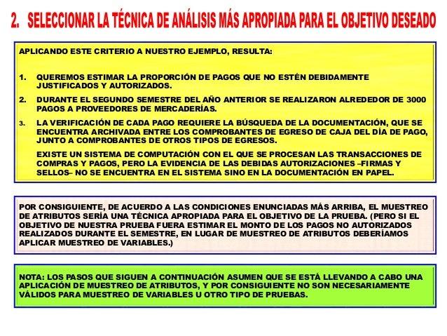 LA POBLACIÓN EN UNA PRUEBA DE CONTROLES ESTARÁ CONSTITUIDA POR EL CONJUNTO DE TRANSACCIONES QUE SON RELEVANTES PARA NUESTR...