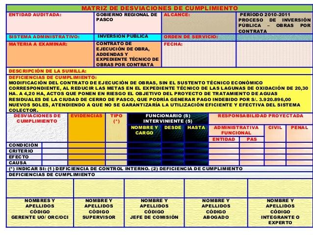 DE ACUERDO AL NUMERAL 101 DEL MANUAL DE AUDITORÍA DE CUMPLIMIENTO – MAC, AL ELABORAR LAS DESVIACIONES SE DEBE TENER EN CUE...