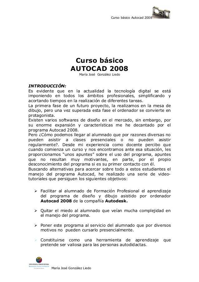 Curso básico Autocad 2008                        Curso básico                       AUTOCAD 2008                          ...