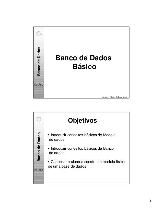 1  Banco de Dados  Banco de Dados  Básico  Unicamp – Centro de Computação  Banco de Dados  Objetivos