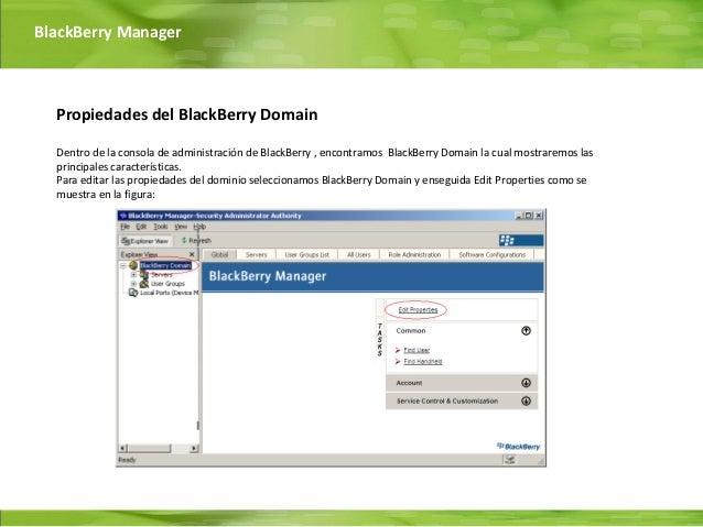 BlackBerry Manager  Propiedades del BlackBerry Domain  Dentro de la consola de administración de BlackBerry , encontramos ...