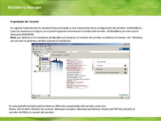 BlackBerry Manager Propiedades del Servidor En seguida mostraremos las características principales y más importantes de la...