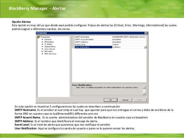 BlackBerry Manager - Alertas Opción Alertas Esta opción es muy útil ya que desde aquí podrás configurar 4 tipos de alertas...