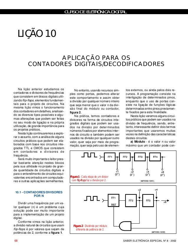 CURSO DE ELETRÔNICA DIGITAL SABER ELETRÔNICA ESPECIAL Nº 8 - 200268 LIÇÃO 10 APLICAÇÃO PARA OS CONTADORES DIGITAIS/DECODIF...