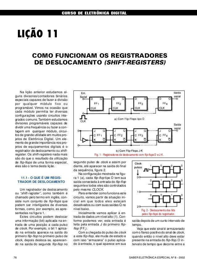CURSO DE ELETRÔNICA DIGITAL SABER ELETRÔNICA ESPECIAL Nº 8 - 200276 CURSO BÁSICO DE ELETRÔNICA DIGITAL LIÇÃO 11 Na lição a...