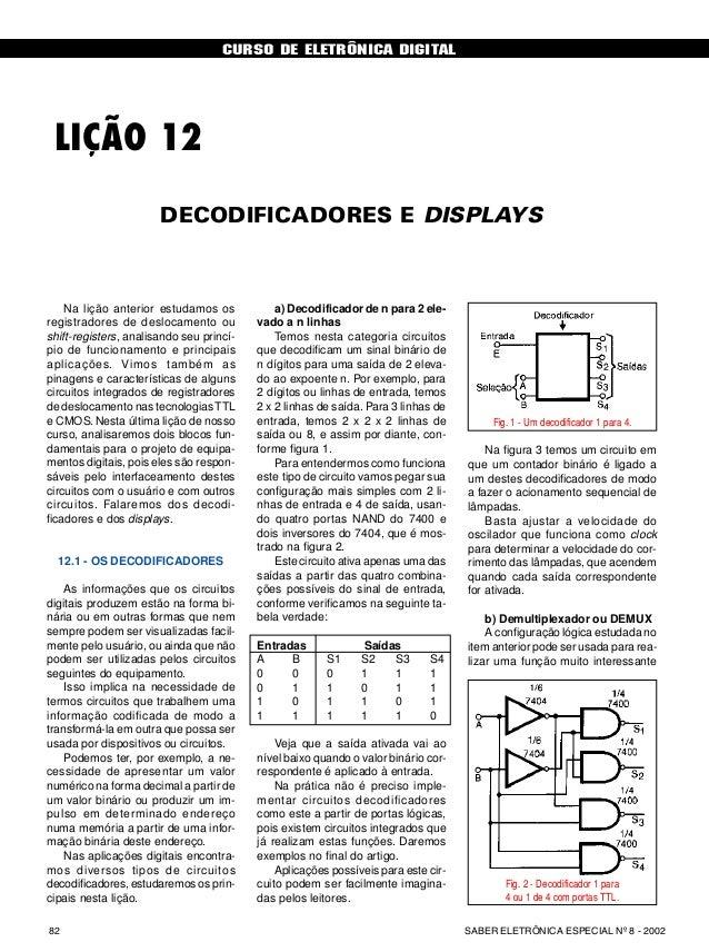 CURSO DE ELETRÔNICA DIGITAL SABER ELETRÔNICA ESPECIAL Nº 8 - 200282 CURSO BÁSICO DE ELETRÔNICA DIGITAL LIÇÃO 12 DECODIFICA...