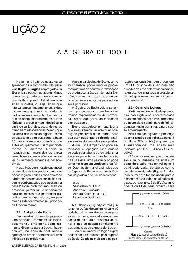 CURSO DE ELETRÔNICA DIGITAL 7SABER ELETRÔNICA ESPECIAL Nº 8 - 2002 Na primeira lição do nosso curso aprendemos o significa...