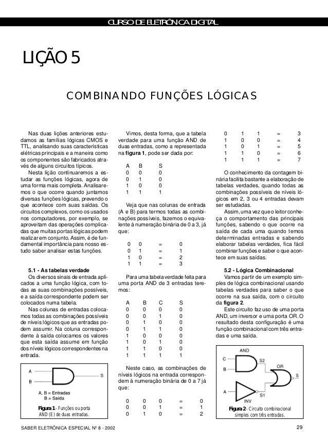 CURSO DE ELETRÔNICA DIGITAL 29SABER ELETRÔNICA ESPECIAL Nº 8 - 2002 LIÇÃO 5 Nas duas lições anteriores estu- damos as famí...