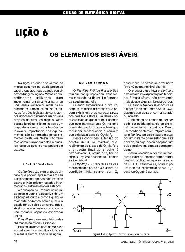 CURSO DE ELETRÔNICA DIGITAL SABER ELETRÔNICA ESPECIAL Nº 8 - 200236 LIÇÃO 6 OS ELEMENTOS BIESTÁVEIS Na lição anterior anal...