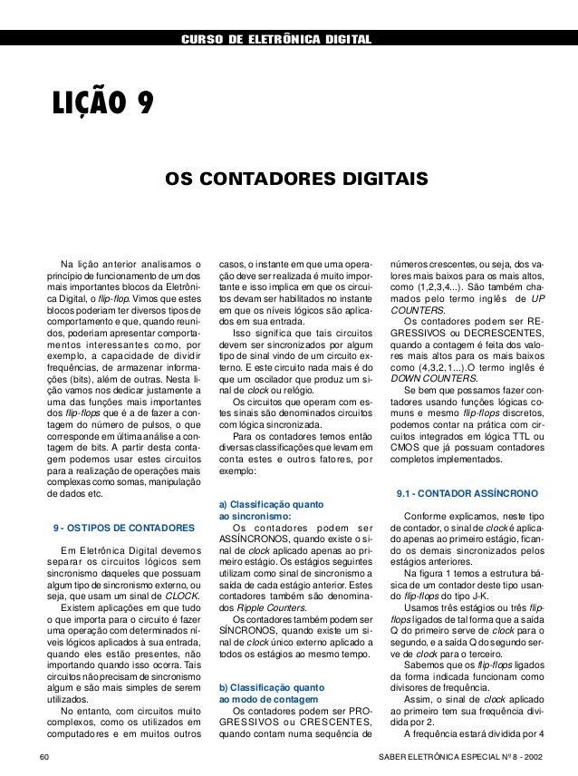 CURSO DE ELETRÔNICA DIGITAL SABER ELETRÔNICA ESPECIAL Nº 8 - 200260 CURSO BÁSICO DE ELETRÔNICA DIGITAL LIÇÃO 9 OS CONTADOR...