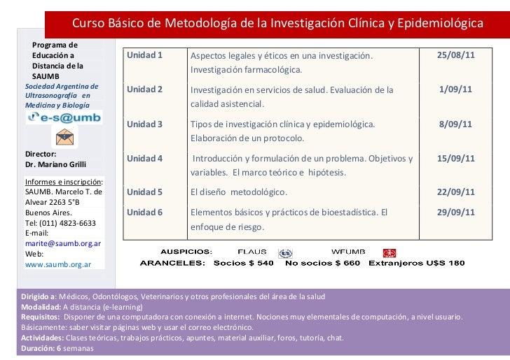 Curso Básico de Metodología de la Investigación Clínica y Epidemiológica   Programa de   Educación a               Unidad ...