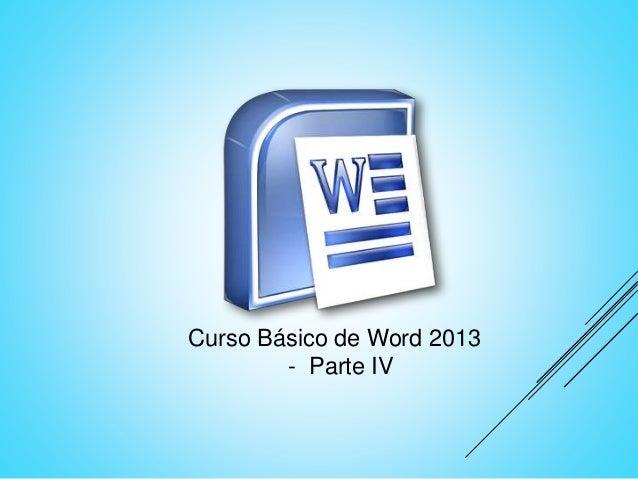 Curso Básico de Word 2013 - Parte IV