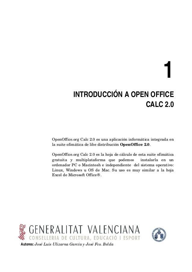 1                               INTRODUCCIÓNAOPENOFFICE                                                 CALC2.0      ...