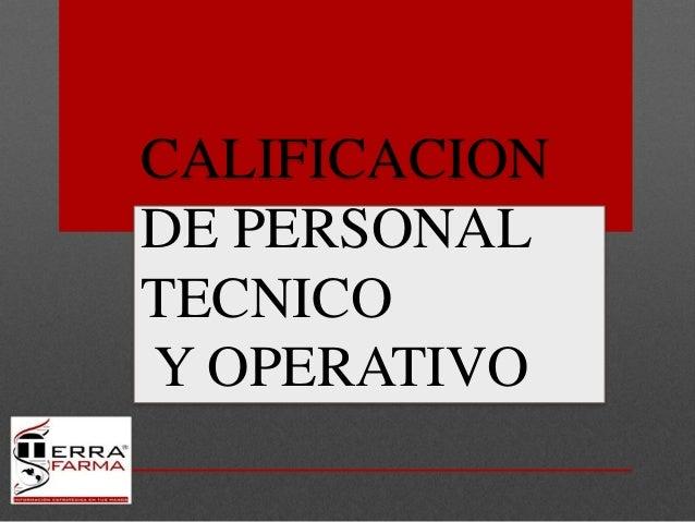 CALIFICACION DE PERSONAL TECNICO Y OPERATIVO