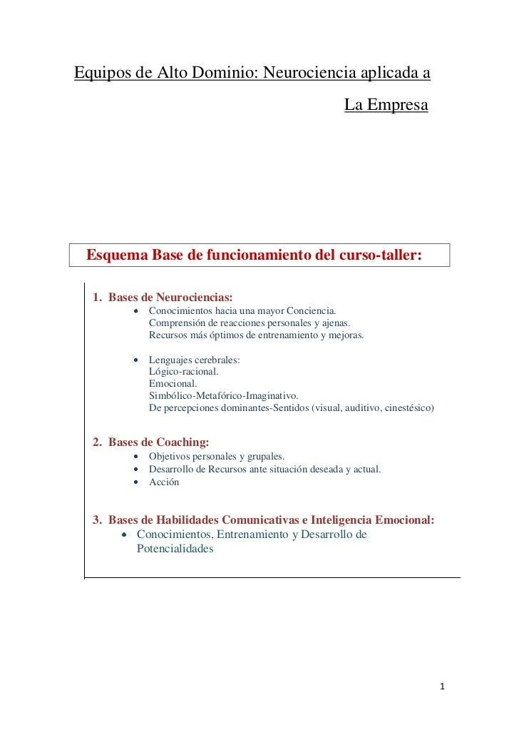 Equipos de Alto Dominio: Neurociencia aplicada a                                                          La Empresa Esque...