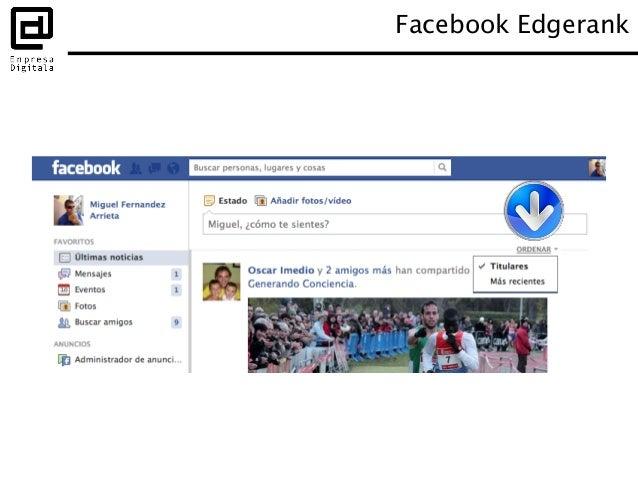 Se basa en 3 parámetros: Afinidad Peso Frescura Facebook Edgerank