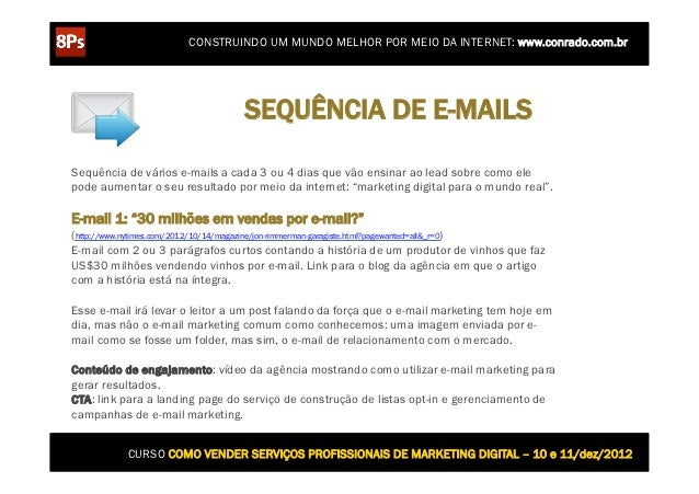 CONSTRUINDO UM MUNDO MELHOR POR MEIO DA INTERNET: www.conrado.com.br                                 SEQUÊNCIA DE E-MAILSS...