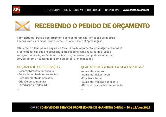 CONSTRUINDO UM MUNDO MELHOR POR MEIO DA INTERNET: www.conrado.com.br             RECEBENDO O PEDIDO DE ORÇAMENTOFormulário...