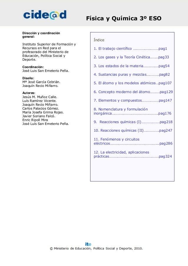 Física y Química 3º ESODirección y coordinacióngeneral:                                      ÍndiceInstituto Superior de F...