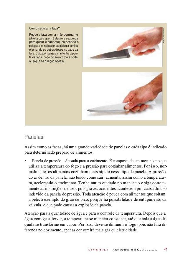 C onf eiteir o 1 Como segurar a faca? Pegue a faca com a mão dominante (direita para quem é destro e esquerda para quem é ...